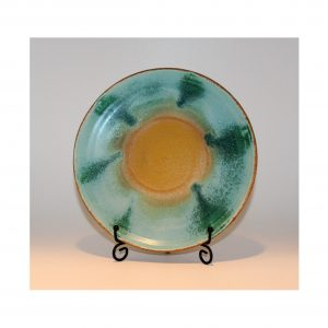 Turquoise Green and Yellow Dinner Plate