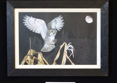 Great Horned Owl With Moon