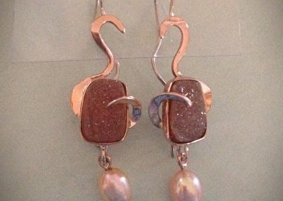 Natural Drusy Rose Gold Earrings