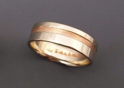 Red and White Gold Band