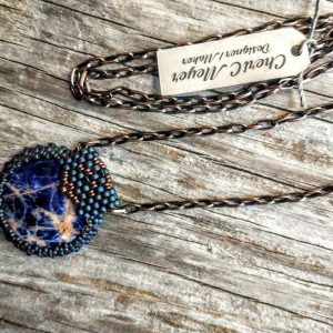 Bezeled Sodilite Cabochon with Long Copper Chain Necklace
