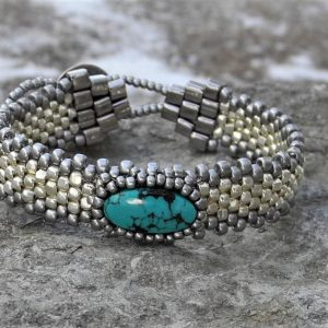 Hand Woven Turquoise Cabochon Bracelet – Silver Galvanized Seed Beads