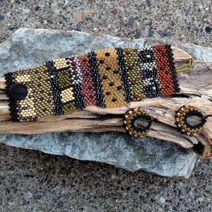 Hand Woven Tapestry Bracelet Cuff with Earrings – Set