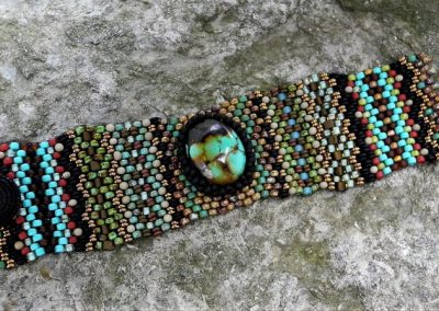 Handwoven Turquoise Cabochon Tapestry Bracelet Cuff