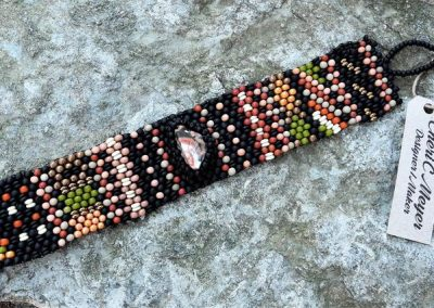 Handwoven Lake Superior Thomsonite Cabochon Tapestry Bracelet