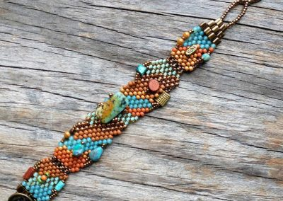 Hand Woven African Turquoise Bracelet