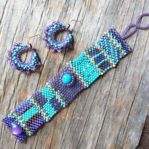Turquoise Cabochon Hand Woven Tapestry Bracelet